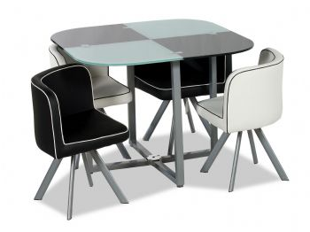 Battenberg Glass Dining Table and Four Chairs Set